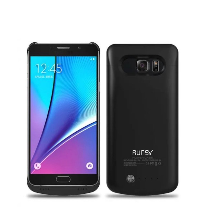 RUNSY Galaxy Note 5 Battery Case, 4200mAh Rechargeable Extended Battery Charging Case for Samsung Galaxy Note 5, External Battery Charger Case, Backup Power Bank Case (Black)