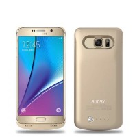 RUNSY Galaxy Note 5 Battery Case, 4200mAh Rechargeable Extended Battery Charging Case for Samsung Galaxy Note 5, External Battery Charger Case, Backup Power Bank Case (Gold)