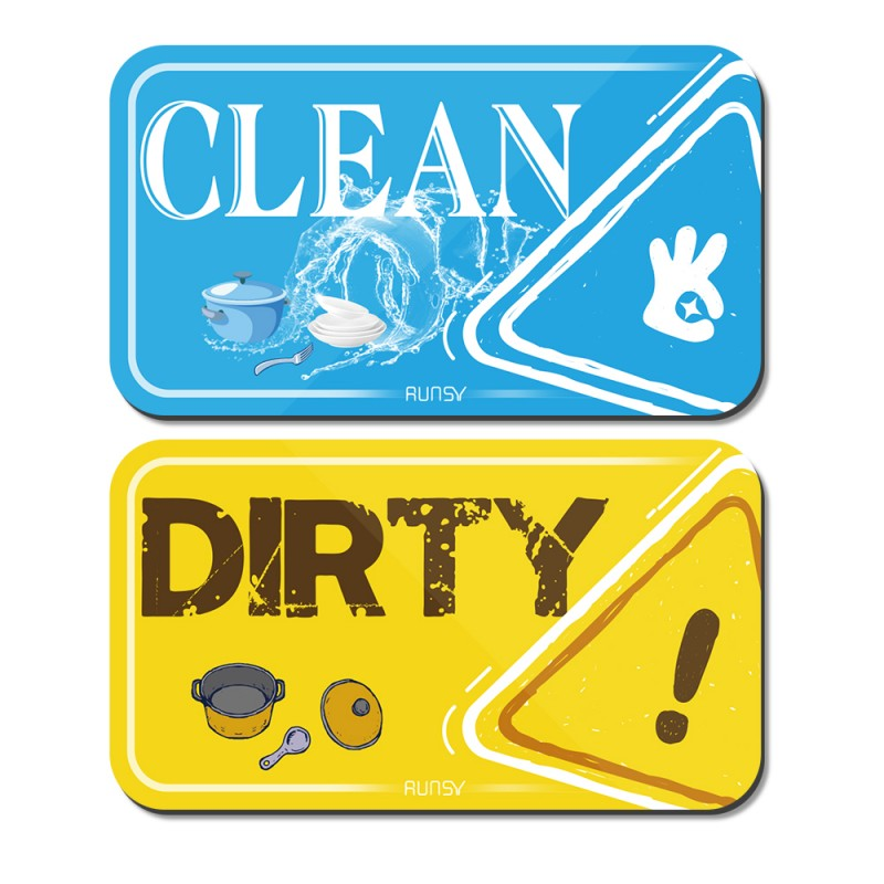 RUNSY Dishwasher Magnet Clean Dirty Sign Universal Kitchen Dish Washer Reversible Indicator Upgraded Super Strong Magnet Double Sided Flip with Bonus Magnetic Metal Plate (Sky Blue / Lemon Yellow)