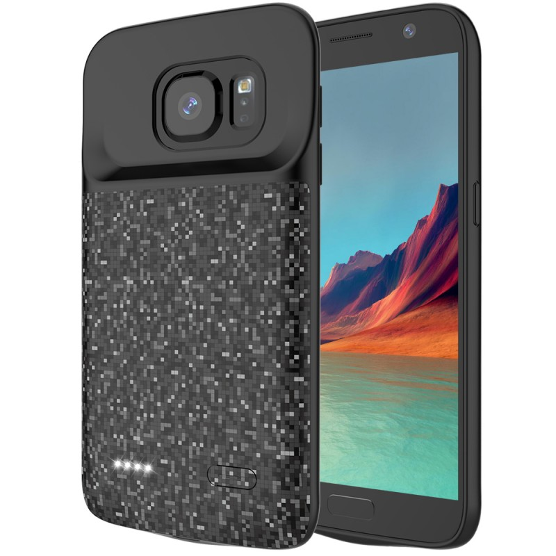 RUNSY Battery Case Compatible with Samsung Galaxy S7, 4700mAh Rechargeable Extended Battery Charging Case, External Battery Charger Case, Backup Power Bank Case (New 5.1 inch Black)