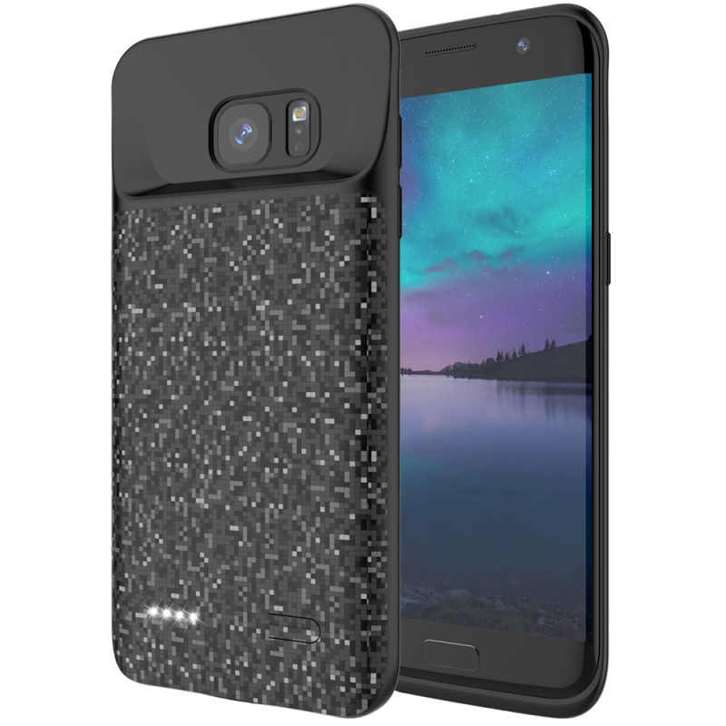 RUNSY Battery Case Compatible with Samsung Galaxy S7 Edge, 5000mAh Rechargeable Extended Battery Charging Case, External Battery Charger Case, Backup Power Bank Case (New 5.5 inch Black)