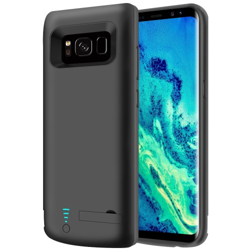 RUNSY Samsung Galaxy S8 Battery Case, 5000mAh Rechargeable Extended Battery Charging Case, External Battery Charger Case, Backup Power Bank Case with Kickstand