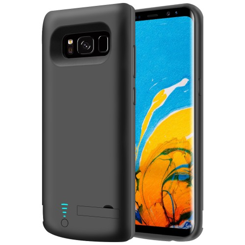 RUNSY Samsung Galaxy S8+ Plus Battery Case, 6500mAh Rechargeable Extended Battery Charging Case, External Battery Charger Case, Backup Power Bank Case with Kickstand