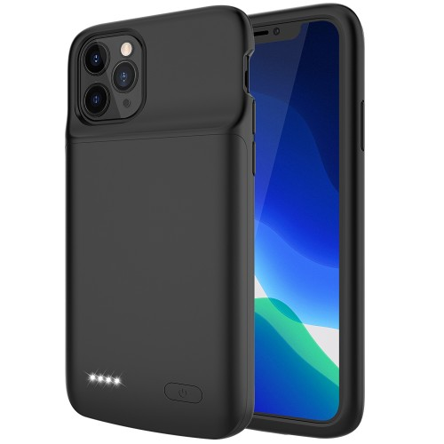 RUNSY Battery Case for iPhone 11 Pro, 4800mAh Slim Rechargeable Extended Battery Charging Charger Case with RAISED BEZEL, Adds 110% Extra Juice, Support Wire Headphones
