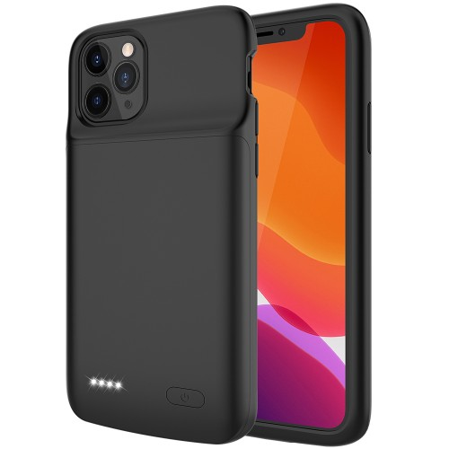 RUNSY Battery Case for iPhone 11 Pro Max, 5000mAh Slim Rechargeable Extended Battery Charging Charger Case with RAISED BEZEL, Adds 90% Extra Juice, Support Wire Headphones