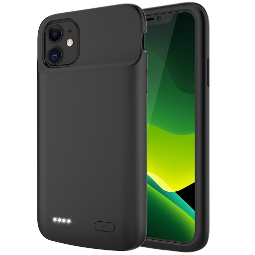 RUNSY Battery Case for iPhone 11, 5000mAh Slim Rechargeable Extended Battery Charging Charger Case with RAISED BEZEL, Adds 100% Extra Juice, Support Wire Headphones