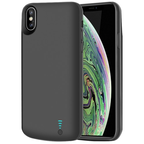 RUNSY Battery Case Compatible with iPhone XS Max, 6000mAh Rechargeable Extended Battery Charging Case, External Battery Charger Case, Adds 1.25x Extra Juice, Support Wired Headphones (6.5 inch)